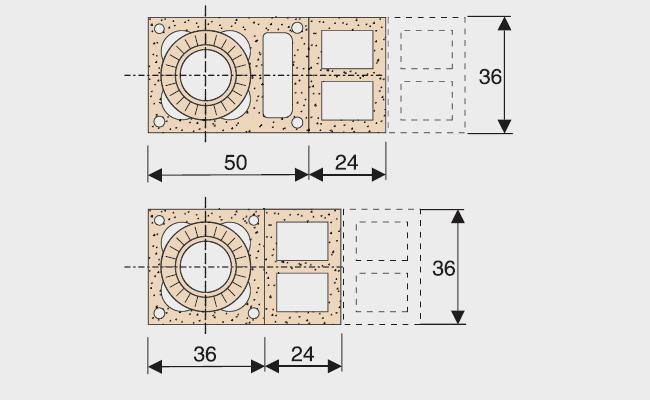 Kaminų išdėstymas su 3-5 ventiliacinėmis angomis ir su 2-4 ventiliacinėmis angomis