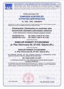 Kaminų gamybos kontroles sertifikatas