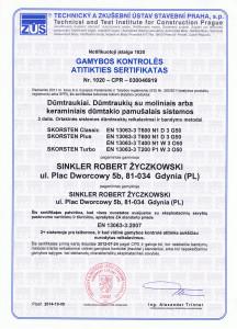 Gamybos kontroles sertifikatas W3-D3